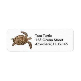 Etiqueta de la tortuga de mar de Hawksbill Etiqueta De Remite