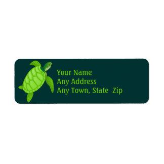 Etiqueta de la tortuga de mar verde etiqueta de remite