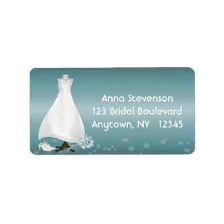 Etiqueta de la turquesa del vestido nupcial etiqueta de dirección