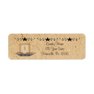 Etiqueta de la vela de la frontera de la estrella etiqueta de remite