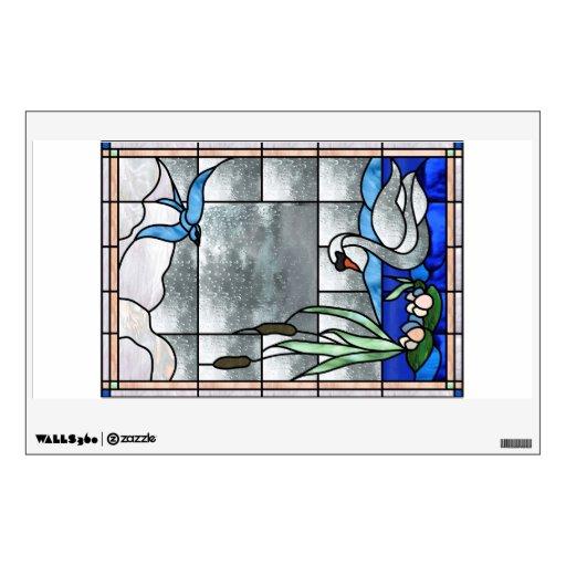 Etiqueta de la ventana o de la pared del cisne de