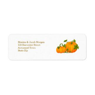Etiqueta de las calabazas del otoño dos etiqueta de remite