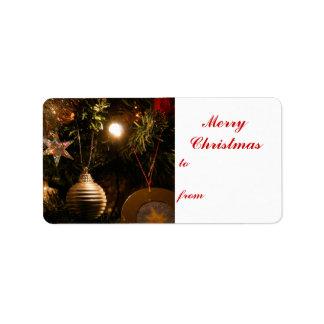 Etiqueta de las decoraciones del árbol de navidad etiquetas de dirección