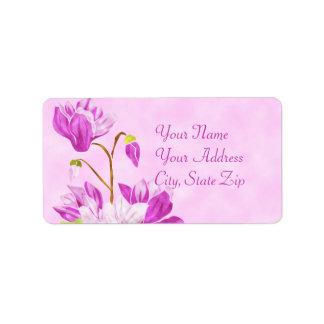 Etiqueta de las flores de la acuarela etiquetas de dirección