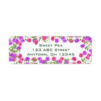 Etiqueta de las flores del guisante de olor de la etiqueta de remitente