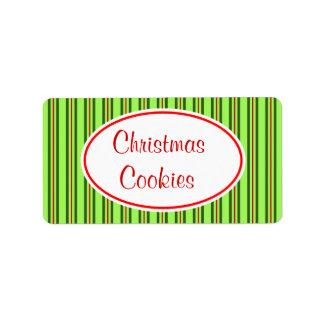 Etiqueta de las galletas del navidad etiquetas de dirección