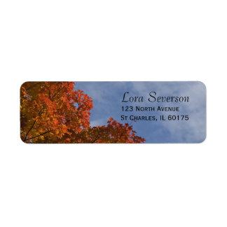 Etiqueta de las hojas de otoño y del remite del ci etiqueta de remite