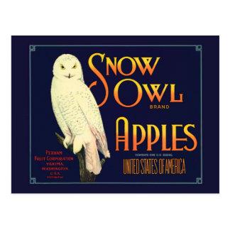 Etiqueta de las manzanas del búho de la nieve del postal