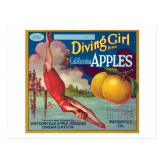 Etiqueta de las manzanas del vintage del chica del tarjetas postales