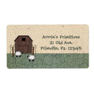 Etiqueta de las ovejas del granero etiquetas de envío