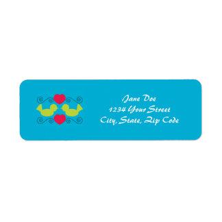 Etiqueta de las palomas del amor etiquetas de remite