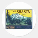 Etiqueta de las peras del Mt Shasta California del