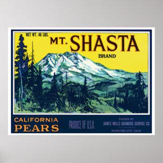 Etiqueta de las peras del Mt Shasta California del Póster