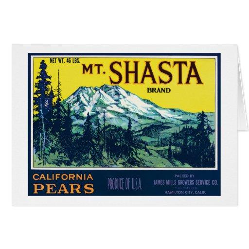 Etiqueta de las peras del Mt Shasta California del Tarjeta De Felicitación