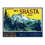 Etiqueta de las peras del Mt Shasta California del Tarjeta Postal