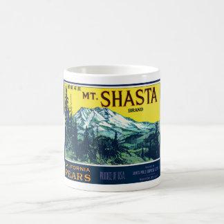 Etiqueta de las peras del Mt Shasta California del Taza De Café