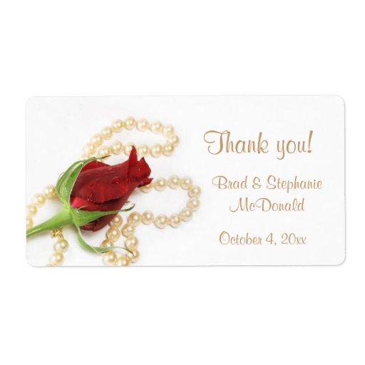 Etiqueta de las perlas del rosa rojo etiqueta de envío