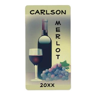 Etiqueta de las uvas del cristal de botellas de etiquetas de envío