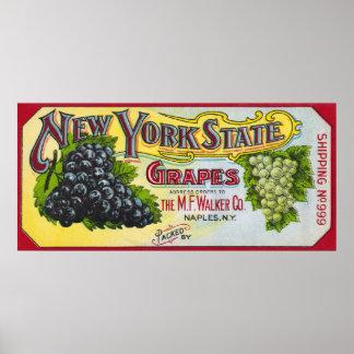 Etiqueta de las uvas del Estado de Nuevo York Póster