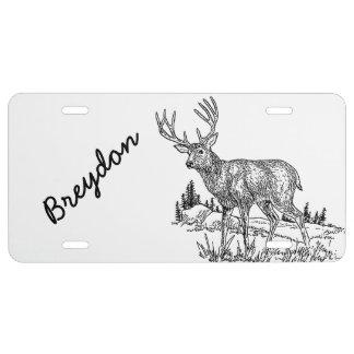 Etiqueta de licencia personalizada de los ciervos placa de matrícula