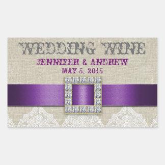 Etiqueta de lino del vino del boda del vintage del