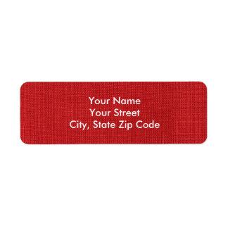 Etiqueta de lino roja del remite de la foto de la etiqueta de remite