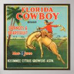 Etiqueta de los agrios del vaquero de la Florida Posters