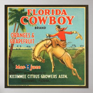 Etiqueta de los agrios del vaquero de la Florida Póster
