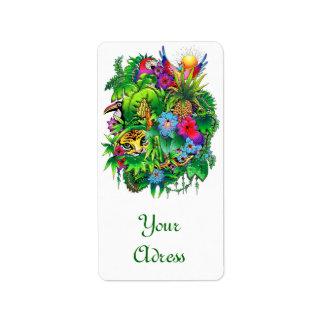 Etiqueta de los animales salvajes y de las plantas etiqueta de dirección