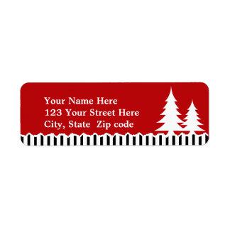Etiqueta de los árboles y de las rayas dirección o etiqueta de remitente