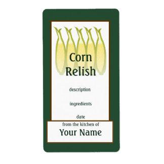 Etiqueta de los cotos del condimento del maíz etiqueta de envío