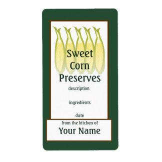 Etiqueta de los cotos del maíz dulce etiquetas de envío