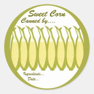 Etiqueta de los cotos del maíz dulce