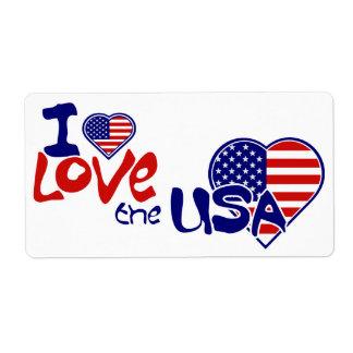 Etiqueta de los E.E.U.U. del amor de la bandera am Etiquetas De Envío