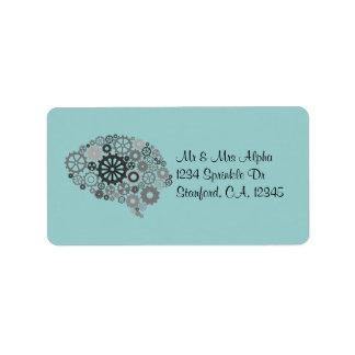 Etiqueta de los engranajes del cerebro etiqueta de dirección
