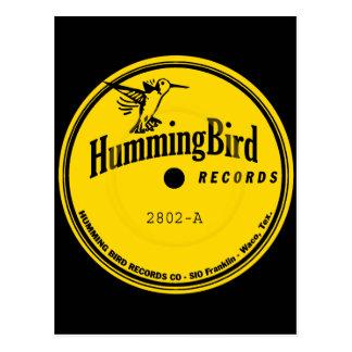 Etiqueta de los expedientes del colibrí postales