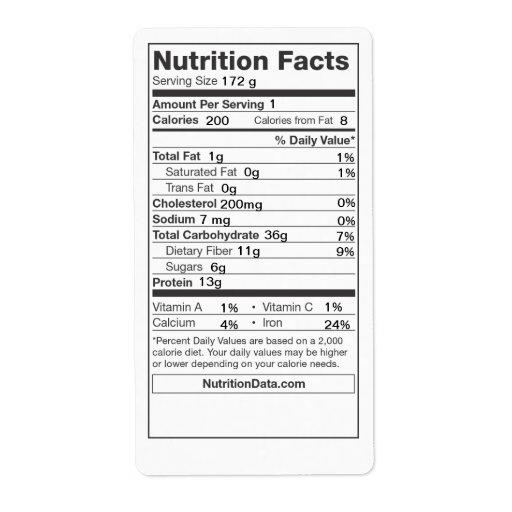 Etiqueta de los hechos de la nutrición (enlatado, etiquetas de envío