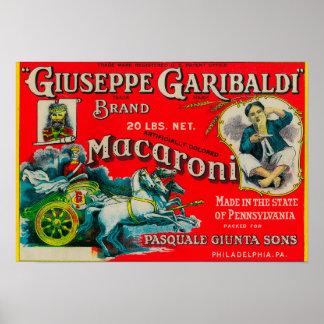 Etiqueta de los macarrones de Giuseppe Garibaldi Impresiones