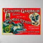 Etiqueta de los macarrones de Giuseppe Garibaldi Póster