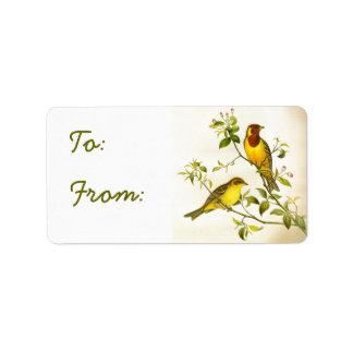 Etiqueta de los pájaros de la etiqueta del regalo etiquetas de dirección
