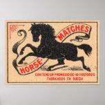 Etiqueta de los partidos del caballo del vintage póster