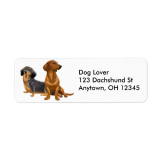 Etiqueta de los perros de la salchicha de etiqueta de remitente