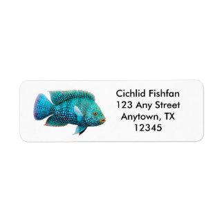 Etiqueta de los pescados de Cichlid de Carpintis Etiqueta De Remite