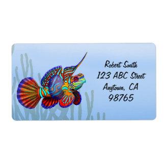 Etiqueta de los pescados de Dragonet del mandarín Etiquetas De Envío