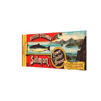 Etiqueta de los salmones de la marca de la entrada impresión en lienzo