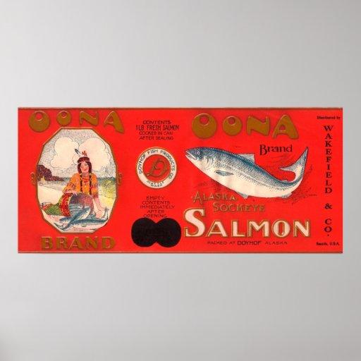 Etiqueta de los salmones de la marca de Oona Póster