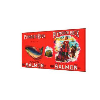 Etiqueta de los salmones de la marca de Plymouth R Lona Estirada Galerias