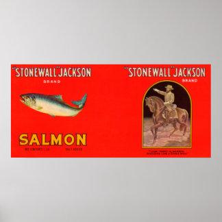 Etiqueta de los salmones de la marca de Stonewall  Póster