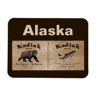 Etiqueta de los salmones del Kodiak del vintage Imán Foto Rectangular