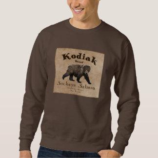 Etiqueta de los salmones del Kodiak del vintage Jersey